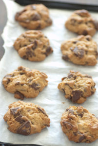 Chocolate Chip Cookies Baked On Parchment