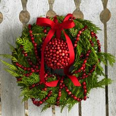 Christmas Wreath With Cranberries