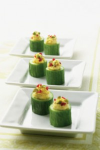 Stuffed Cucumber Appetizer With Curried Goat Cheese