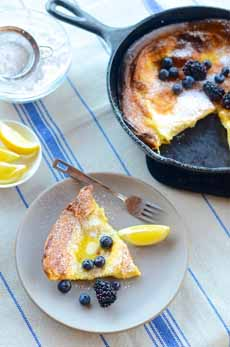 Lemon Blueberry Dutch  Baby
