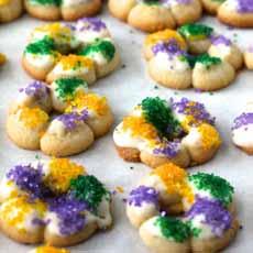 King Cake Spritz Cookies