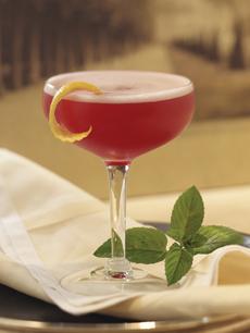 Red Cocktail Mint Garnish