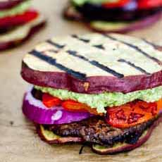 Burger On Grilled Eggplant