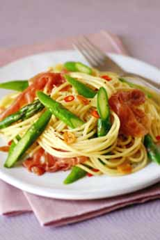 Linguine With Prosciutto  & Asparagus
