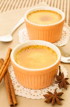 Creme Brulee served in ceramic bowl.