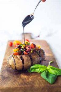 Stuffed Baked Potato With Cherry Tomatoes & Basil