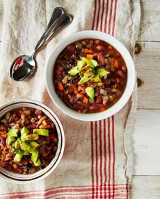 Bean Soup Avocado Garnish