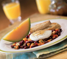 Poached Egg On A Bed Of Beans