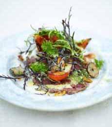 Beef Carpacio Salad Topped