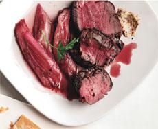 Beef With Roast Rhubarb