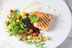 Salmon With Beluga Lentils