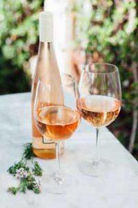 Rose Wine Glass & Bottle