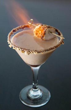 Chocolate Martini With Toasted Marshmallow Garnish