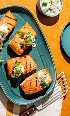 Curried Grilled Salmon With Yogurt Sauce