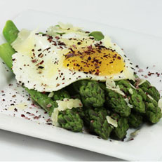 Fried Egg & Asparagus With Hibiscus Salt