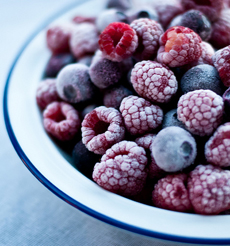 Frozen raspberries & blue berries