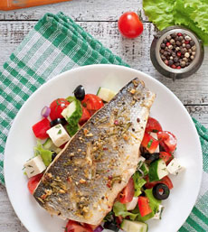 Grilled Fish With Greek Salad
