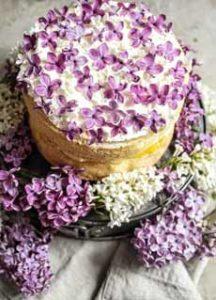 Cake With Fresh Lilac Garnish