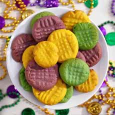 Mardi Gras Peanut Butter Cookies