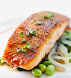 Miso-Glazed Salmon With Edamame