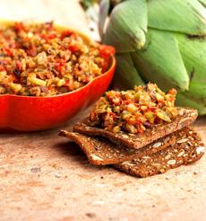 Raincoast Crisps With Muffuletta Spread