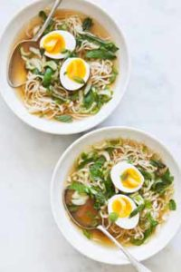 Breakfast Soup With Hard Boiled Egg