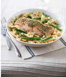 Grilled Salmon With Bowtie Pasta