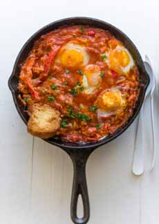 Piperade Poached Eggs