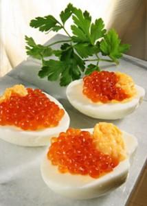 Deviled Eggs With Salmon Caviar