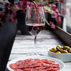 Wine, Salami, Olives