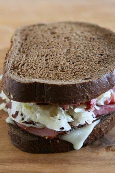 Grilled Reuben Sandwich on Dark Rye