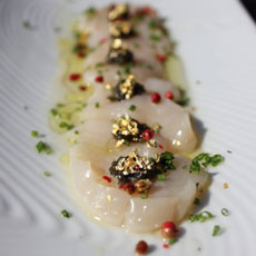 Scallop Crudo With Gold Leaf