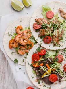 Beef, Chicken, Shrimp Tacos