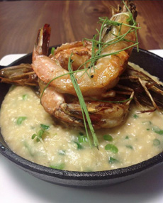 Shrimp With Miso Grits