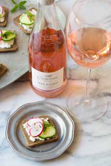 Tartine With Rose Wine