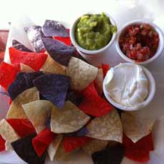 Tricolor Tortilla Chips With Dips
