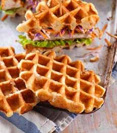 Ham Sandwich On Waffle