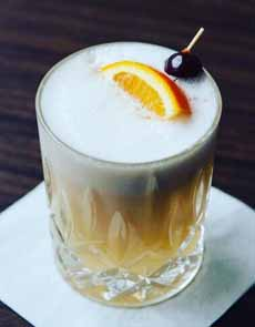 Whiskey Sour With Egg White Foam